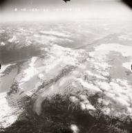 Glaciers at head of Drift River, aerial photograph FL109, Alaska, United States