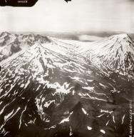 Mount Recheshnoi and Mount Vsevidof, aerial photograph FL76, Alaska, United States