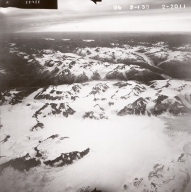Tongue Glacier and Tuxedni Glacier, aerial photograph FL82, Alaska, United States