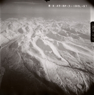 Unknown glaciers west of Snowy mountian, aerial photograph, FL92, Alaska, United States