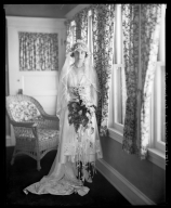 Portraits of unidentified man and woman, probably on their wedding day