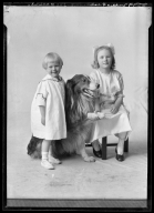 Portrait of children of Sallie Peebles and dog