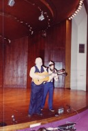 Rabbi Shlomo Carlebach and David Zeller performing on stage at the Transpersonal Association Conference, 1982.