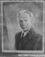 "Photo of a painting of Rabbi Maurice A. (""Moshe"") Pekarsky, Hillel Director at the University of Chicago."