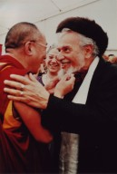 The 14th Dalai Lama (Tenzin Gyatso) and Rabbi Zalman Schachter-Shalomi greeting one another at the Spirituality and Education Conference at the Naropa Institute in 1997, pt. 1 of 2.