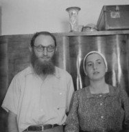 Shlomo Rosenfeld, an old friend of Reb Zalman's from the HaBaD-Niezhin hevrah of Antwerp, and his wife in their house in B'nei Brak, ca. 1958.