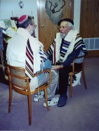 Rabbi Rami Shapiro being personally ordained by Rabbi Zalman Schachter-Shalomi in the basement of Schachter-Shalomi's house on Hardscrabble Drive in Boulder, Colorado, ca. 1997, pt. 2 of 2.