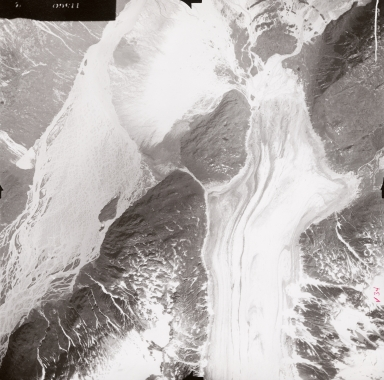 Unnamed glaciers on Iliamna Volcano, aerial photograph FL71, Alaska, United States