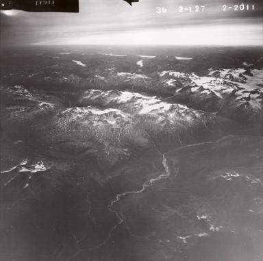 Unknown cirque glaciers SW Iliamna Volcano, aerial photograph FL82, Alaska, United States