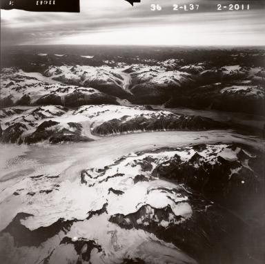 Tuxedni Glacier, aerial photograph FL82, Alaska, United States