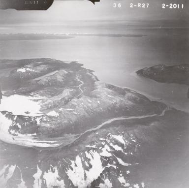 Red Glacier, Iliamna Volcano, aerial photograph FL82, Alaska, United States