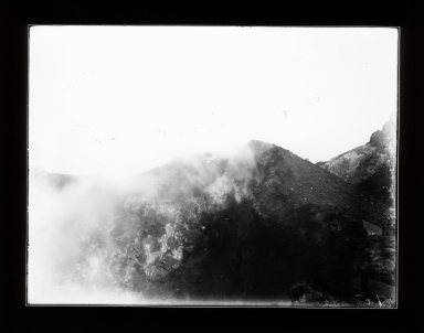 Looking into crater of Stromboli Volcano, Sicily, Italy