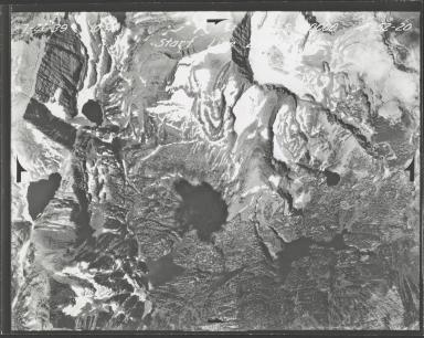 Glacier in Mission Range, aerial photograph F-52-20, Montana