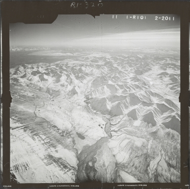 Unknown glaciers near Broad Pass, aerial photograph FL 59 R-101, Alaska