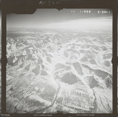 Unknown glaciers near Broad Pass, aerial photograph FL 59 R-98, Alaska