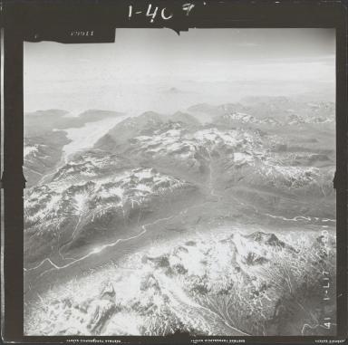Unknown glaciers near Iniskin Bay, aerial photograph FL 72 L-17, Alaska