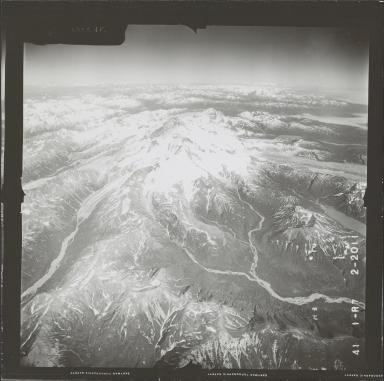 Umbrella Glacier and Red Glacier, aerial photograph FL 72 R-7, Alaska