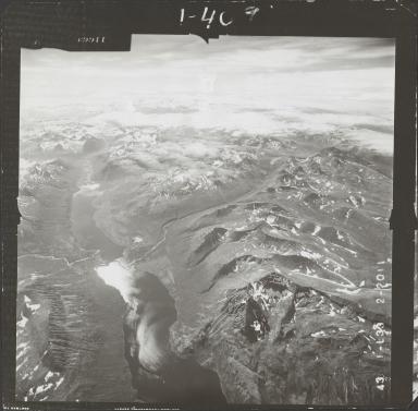 Glacier in Aleutian Range, aerial photograph FL 74 L-33, Alaska