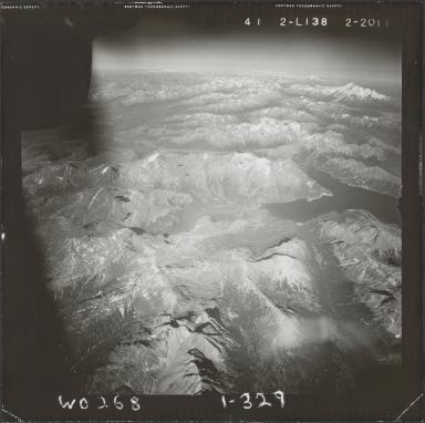 Glacier on Iliamna Volcano, aerial photograph FL 85 L-138, Alaska