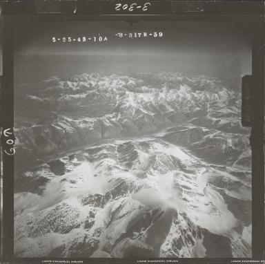 Unknown glacier near Sheenjek River, aerial photograph FL 103 R-59, Alaska