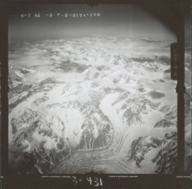 Unknown glaciers in the southwest Alaska Range, aerial photograph FL 111 L-160, Alaska