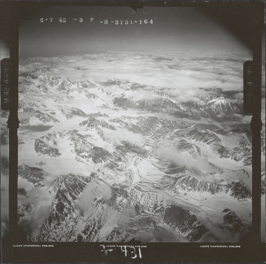 Unknown glaciers in the southwest Alaska Range, aerial photograph FL 111 L-164, Alaska