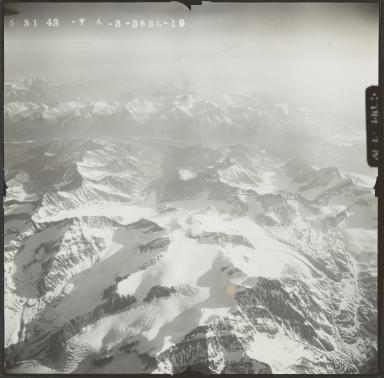 Glaciers at head of Wood River, aerial photograph FL 122 L-19, Alaska