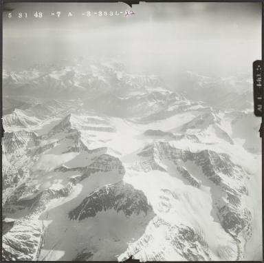 Glaciers at the head of Wood River, aerial photograph FL 122 L-22, Alaska