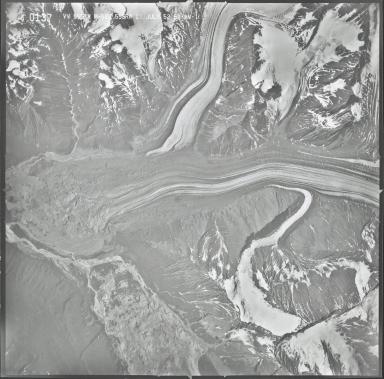 Dall Glacier and Yentna Glacier, aerial photograph M 628 0137, Alaska