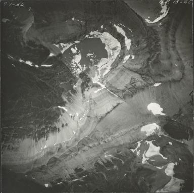 Unnamed glacier, Iceberg Lake, aerial photograph GP 13-45, Montana