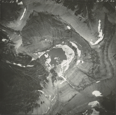 Unnamed glacier, Iceberg Lake, aerial photograph GP 13-46, Montana