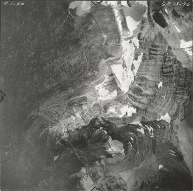 """Harrison Glacier and unknown glacier (""""Stimson Glacier""""), aerial photograph GP 13-96, Montana"""