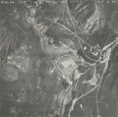 U.S. Forest Service headquarters and Harrison Glacier, aerial photograph GP 6-78, Montana