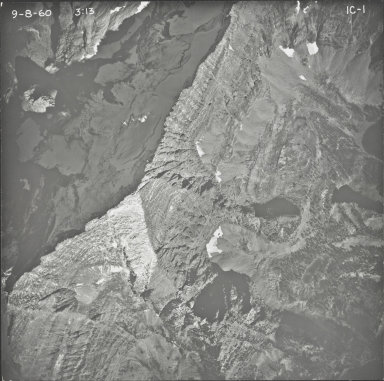 Kintla Glacier, aerial photograph FL IC-1, Montana