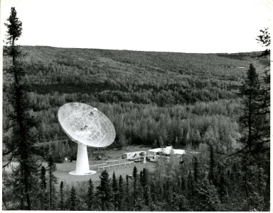 Aerial view of 88-foot dish antenna of the Thomson scatter facility, near the Poker Flat Rocket Facility, Alaska