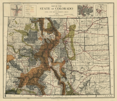 Map of the state of Colorado showing the coal and metalliferous areas