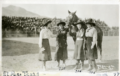 Mayme Stroud with three women rodeo performers