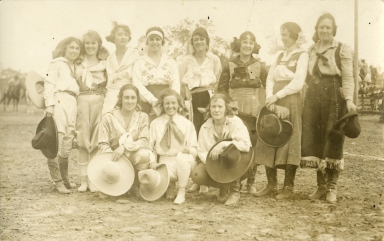 Mayme Stoud with group of women rodeo performers