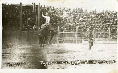 Mayme Stroud riding bronco