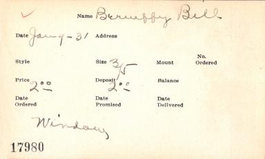 Index card for Bill Berueffy
