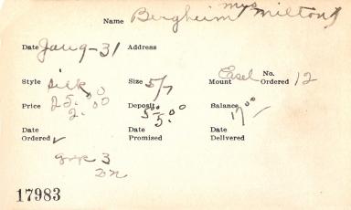 Index card for Mrs. Milton Bergheim