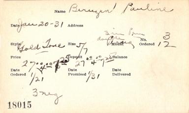Index card for Pauline Bernzen