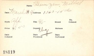 Index card for Mildred Bernzen