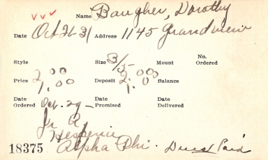 Index card for Dorothy Baugher