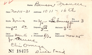 Index card for Frances Benson