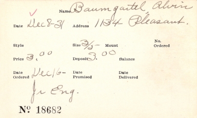Index card for Alvin Baumgartel