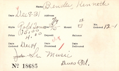Index card for Kenneth Bender
