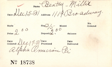 Index card for Millie Beatty