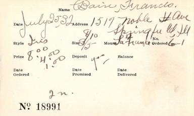 Index card for Frances Bain