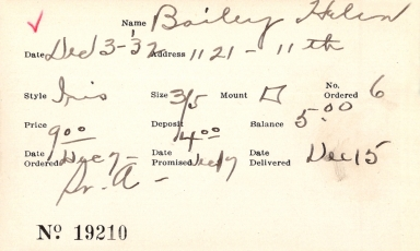Index card for Helen Bailey